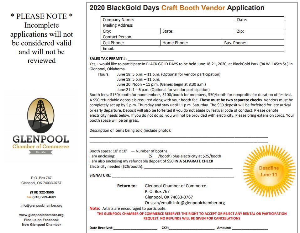 2020 Black Gold Days Craft Booth Vendor Application