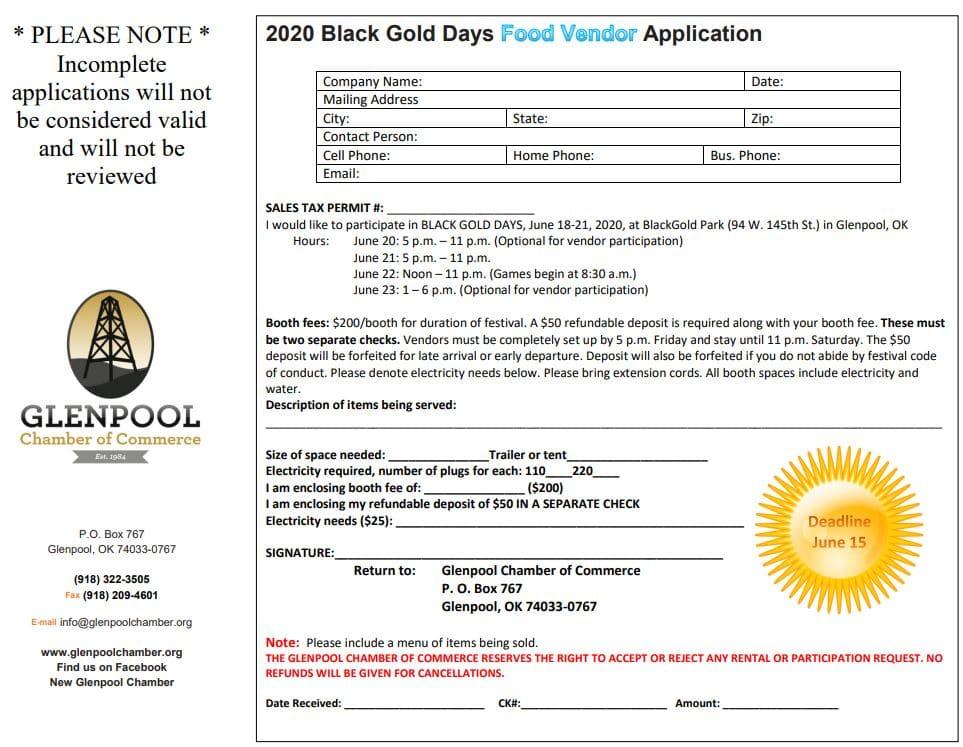 2020 Black Gold Days Food Vendror Application